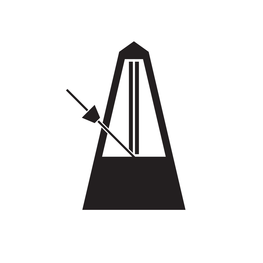 Black vector diagram of a metronome in motion