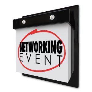 "Page-A-Day wall calendar with the words ""Networking Event"" circled in red"