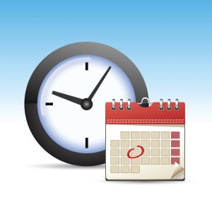 A classy and retro looking calendar icon with a clock