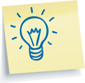 Hand drawn light bulb in blue ink on a yellow Post-It note.