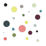 A random array of multi-colored dots of various sizes
