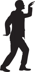 Silhouette of a man facing right with his left arm raised and his right arm behind his back