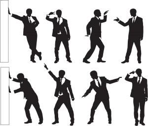 Silhouettes of a man dancing in eight different poses