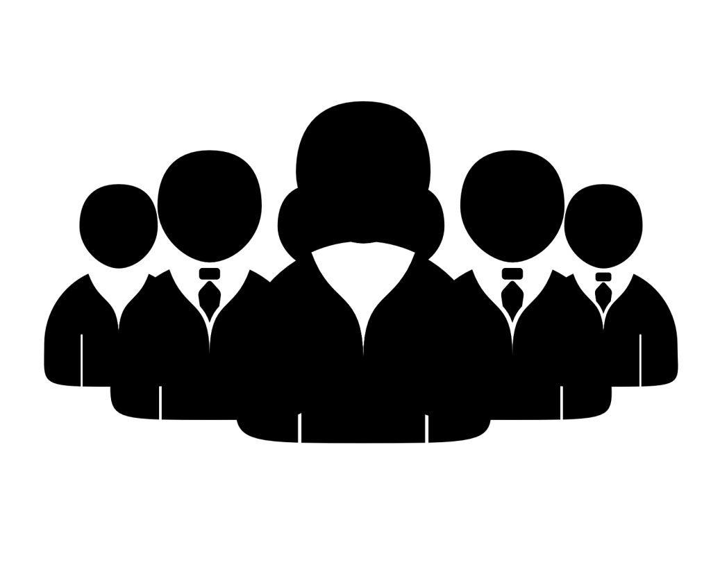 Silhouettes of five people