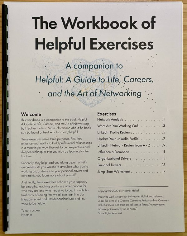 Photograph of the cover of the printed version of The Workbook of Helpful Exercises